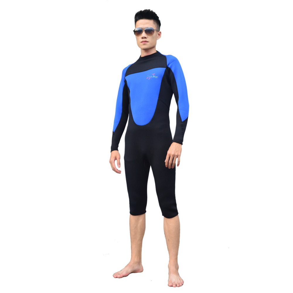 ФОТО Watersports Diving suits long sleeves wetsuits 3mm Neoprene Patchwork Sports Short Diving Suit B1607