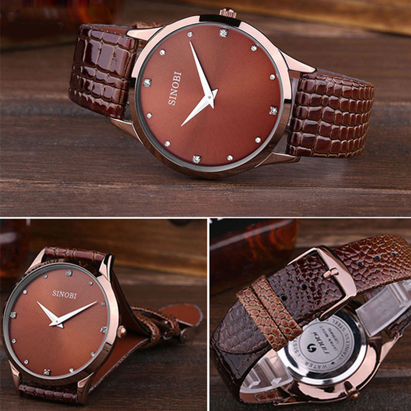 SINOBI Woman's Watch Fashion Ladies Quartz Diamond Watches Top Brand Luxury Leather Strap Reloj Mujer 2018 Relogio Feminino