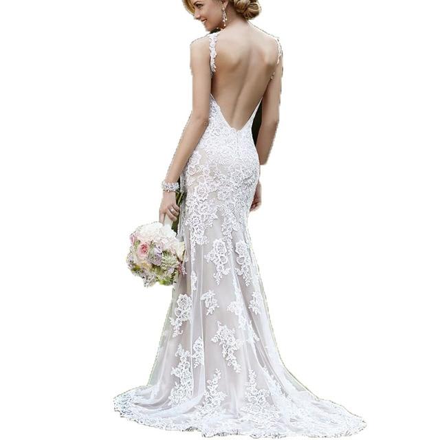 Wejanedress Customized Mermaid Cheap Wedding Dresses Made In China 2017 Backless Bridal Lace Long Vestidos