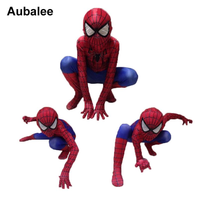 Kids <font><b>Spiderman</b></font> <font><b>Costume</b></font> Child Superhero Cosplay Elastic Jumpsuit Amazing <font><b>Spiderman</b></font> Spandex Zentai Suit Halloween <font><b>boys</b></font> <font><b>Costumes</b></font>