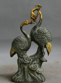"7.1"" China Bronze Conjugal Love Animal Red-Crowned Crane Glossy Ganoderma Statue"