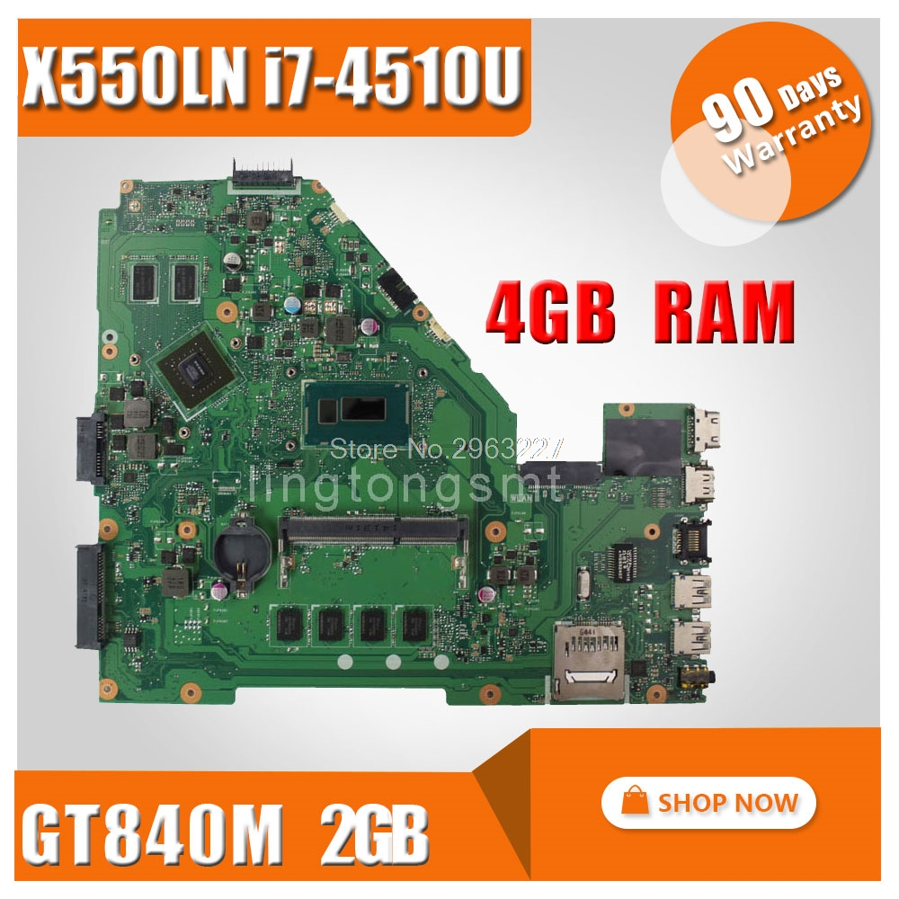 For ASUS X550LN X550LD REV2.0 Motherboard GT840 2G With I7-4510U LVDS X550L X550LN X550LNV R510LD R510LN R510LD full tested