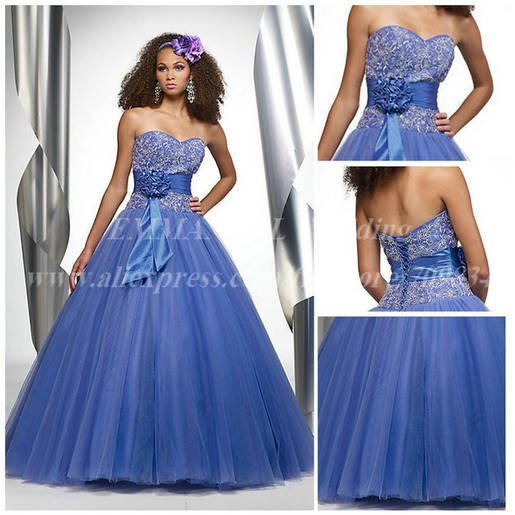 Charming Off the Shoulder Appliqued A-line Sweetheart Organza Blue Dresses for Quinceanera  2015 For 15 or 16 Years Old  GN228