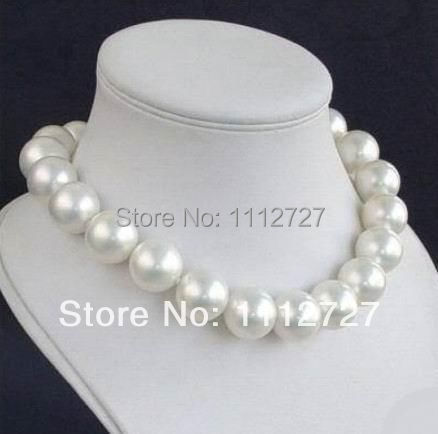New Natural Jewellery Beads CHARMING 14MM WHITE SEA SHELL PEARL NECKLACE Hand Made Fashion Jewelry Making Design Wholesale Price image