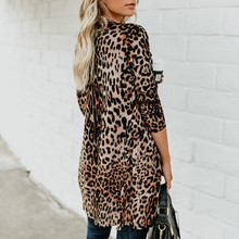 Trendy Women clothes Ladies Long Sleeve Cardigan Polyester Tops leopard print slim casual Trench one pieces
