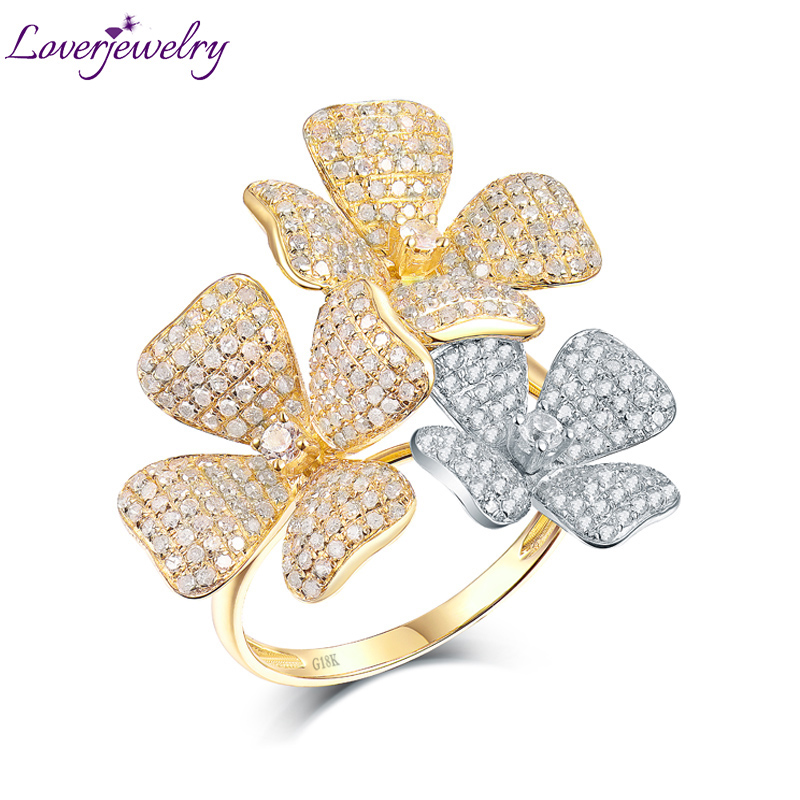 Top Quality Real 18K Two Tone Gold Dia Ring Charming Wedding Flower Diamond Rings for Wife Luxury Fine Jewelry