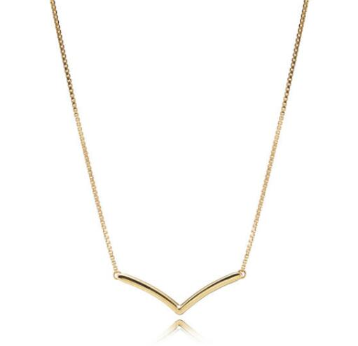 Original 925 Sterling Silver Pandora Necklace Gold Color Shining Wish Necklace For Women Wedding Gift Fine Diy Jewelry