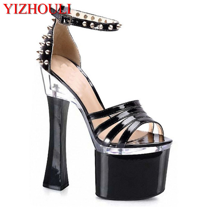 18 cm high heels Party with hollow rivets bag with sandals nightclub shoe manufacturers selling new selling womens shoes18 cm high heels Party with hollow rivets bag with sandals nightclub shoe manufacturers selling new selling womens shoes