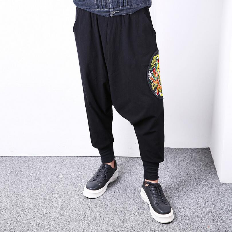 Europe and the United States spring and autumn summer Chinese wind embroidery harem loose low crotch men casual pants/one size