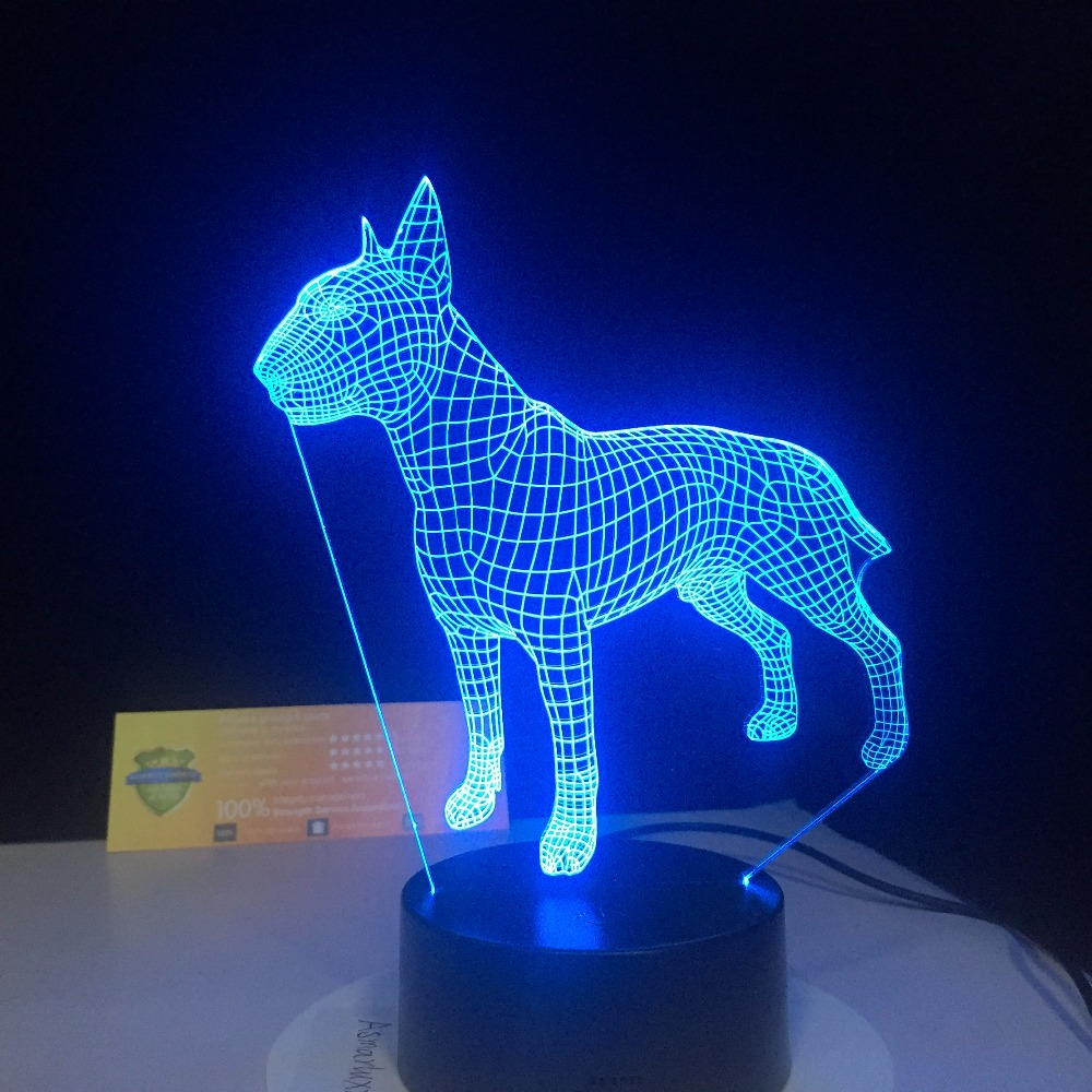 Bull Terrier Dog 3D Lampen 7 Color USB Night Lamp LED for Kids Birthday Creative Bedside Decor Gift Support Free Dropshipping cute little cat kitty animal 3d lampen 7 color usb night lamp led lights for kids birthday gift support dropshipping