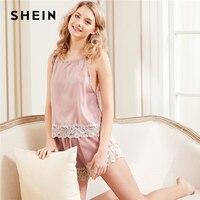 SHEIN Women Sleeping Summer Pink Nightwear Pyjama Contrast Lace Hem Halter Top Shorts Pajama Set