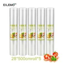 EILEMO 5rolls/лот вакуумный мешок Еда вакуумный упаковщик упаковочная запайки упаковки мешки рулонов 12/15/ 20/25/28 см * 500 см