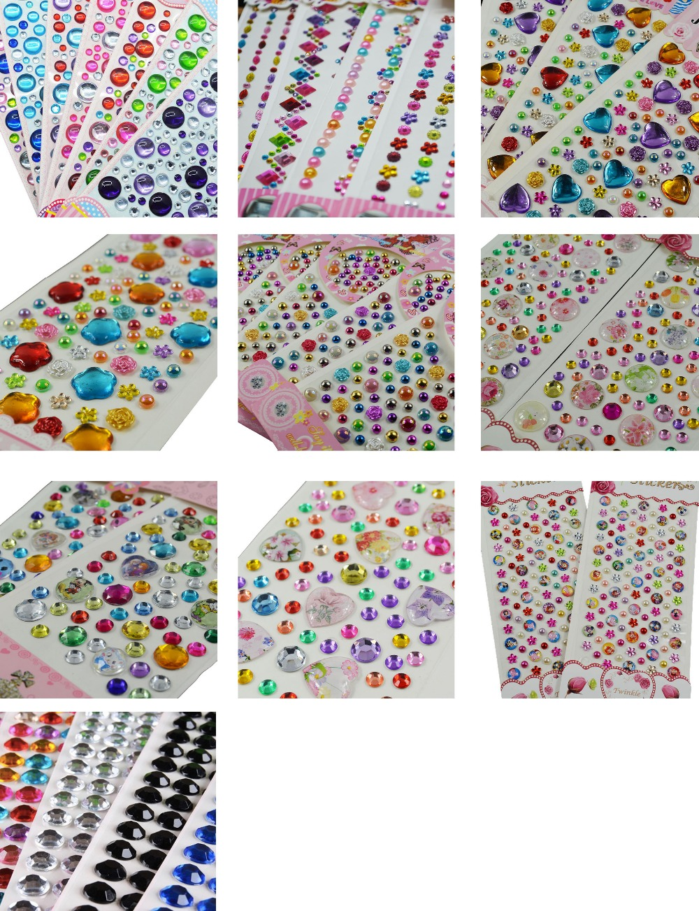 RAINBOW HEART STICKERS  6mm 10mm Craft Embellishments Pack of 6 Sheets