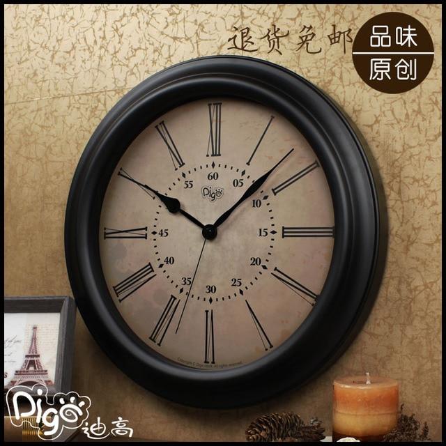 American Vintage Living Room Wall Clock Mute Wrought Iron Watch Home Retro Finishing Quartz