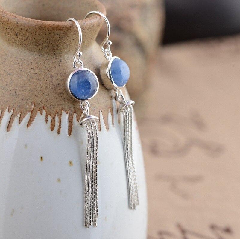 Élégant 925 argent Sterling bleu cristal grand cristal avec des glands boucles d'oreilles avec des pierres précieuses femmes boucles d'oreilles pour les femmes