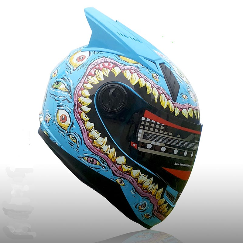 Motorcycle helmet men and women full face helmet knight racing blue color at all seasons antimist with personality horns