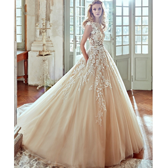 New Designer Cap Sleeve Champagne Liques A Line Princess Wedding Dress 2017 Luxury On Beaded Sashes