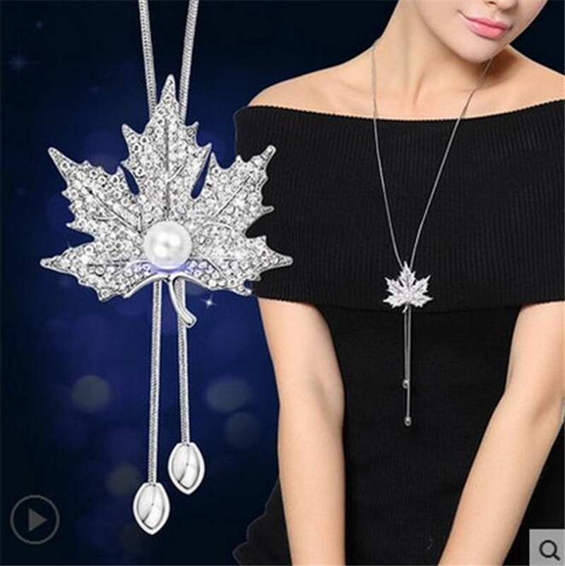 Long Necklace for Women Fashion Silver Color Crystal Maxi Necklaces & Pendants Tassel Statement Collier Jewelry