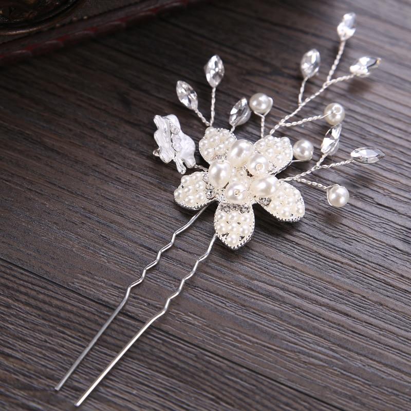 Hairpin-Stick Hair-Accessories Bridal-Hair-Clips Flower Leaf Crystal Bride Wedding Women