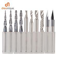 CNC Katı Karbür gravür alet uçları freze kesicisi ahşap seti 3.175mm 6.35mm 6mm shank freze uçları ahşap oyma için Son değirmenler