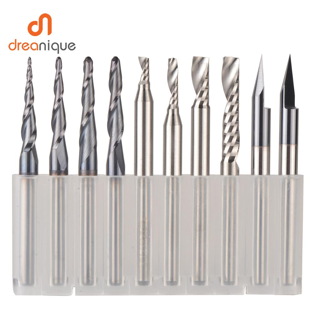 CNC Solid Carbide engraving bits milling cutter woodwork set 3.175mm 6.35mm 6mm shank router bits for carving wood tools