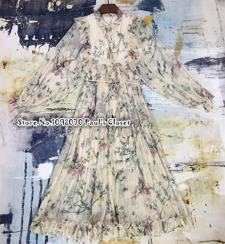 ae80f1922743 Women Frill Ruffled Printed Crinkled Silk-georgette Midi Dress Flowers and  Swooping Birds Print Silk