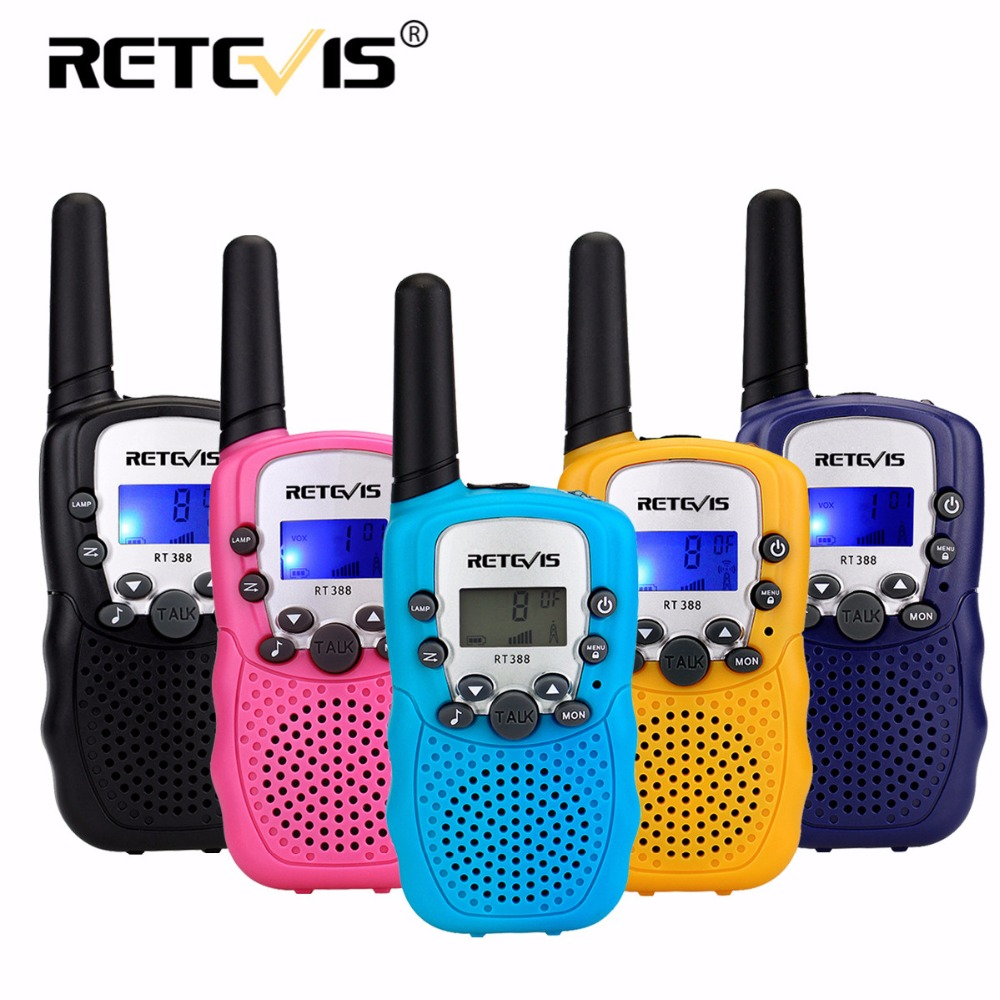 2 pz Mini Two Way Radio Retevis RT388 Bambini Giocattolo Walkie Talkie UHF PMR446 Display LCD Torcia Elettrica VOX A Portata di mano di Prosciutto radio Regalo Dei Capretti