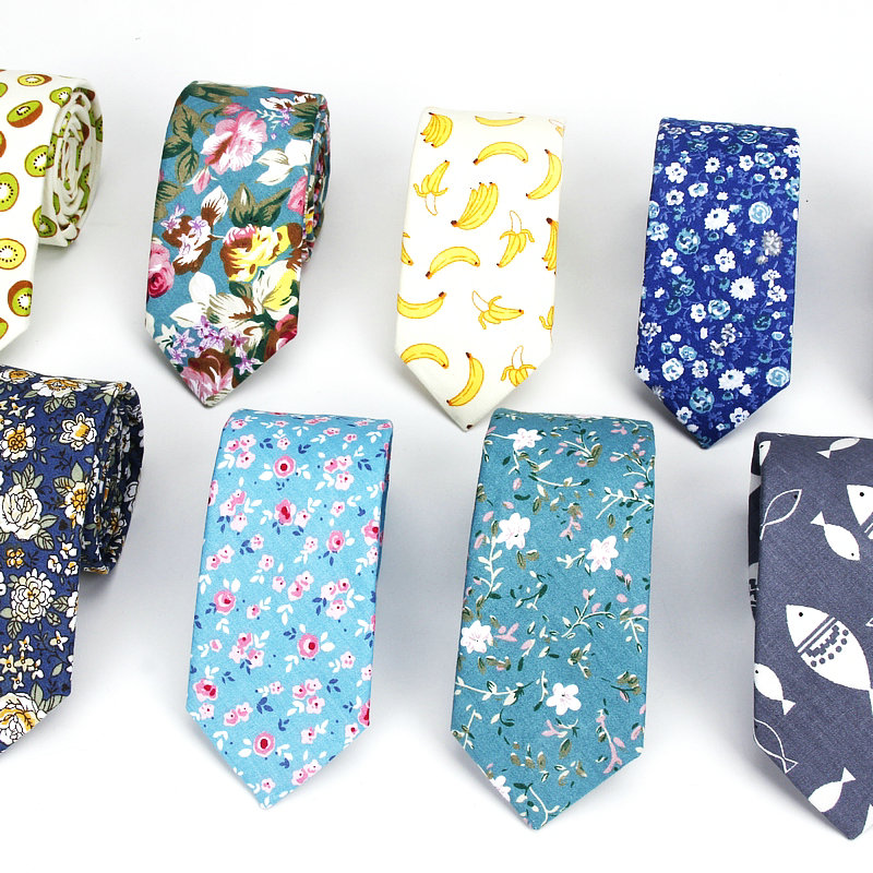 2019 New Men's Floral Neck Ties For Man Casual Cotton Slim Tie Gravata Skinny Wedding Fish Red Neckties New Design Men Necktie