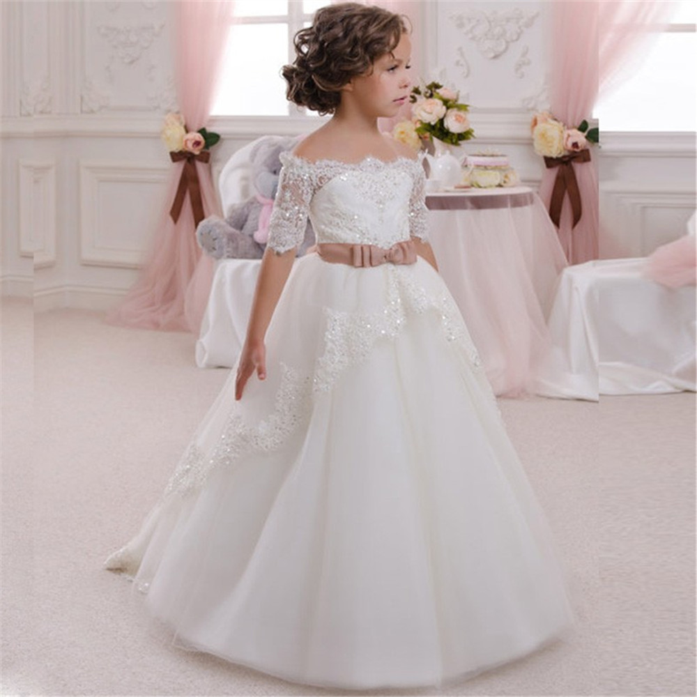 Half Sleeves 2019 Flower Girl Dresses For Weddings Ball Gown Tulle Lace Beaded Bow Long First Communion Dresses For Little Girls