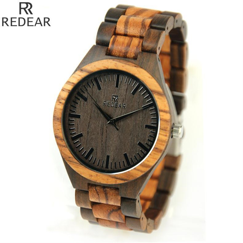 Bamboo Wooden Unique Watches for Men Top Design Luxury Zebra Quartz Wood Band Round Vintage Wrist Watch Relogio Masculino 2017 fashion men bamboo wood quartz analog watch with genuine leather for men nature zebra stripe unique watch relogio clock gifts