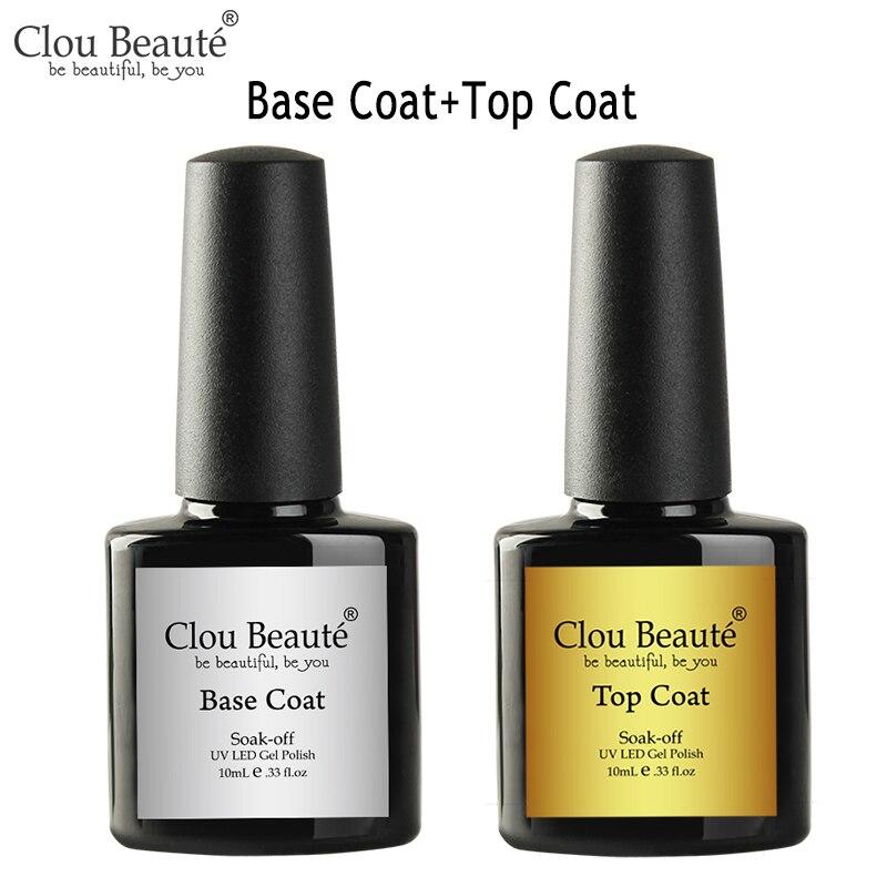 Clou beaute 10ml transparente prego gel base casaco nenhum revestimento superior da limpeza que bling vernis vernis verniz verniz verniz semi permanente lak