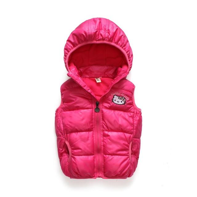 2016 crianças Outerwear Casacos de inverno Hello Kitty Girls colete colete com capuz Crianças Jaqueta corta-vento casacos de algodão veste do bebê quente
