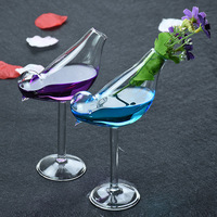 2pcs Creative Birds Shaped Cocktail Glass Personality Type Glass Molecular Smoked Glass Birds Champagne Red Wine