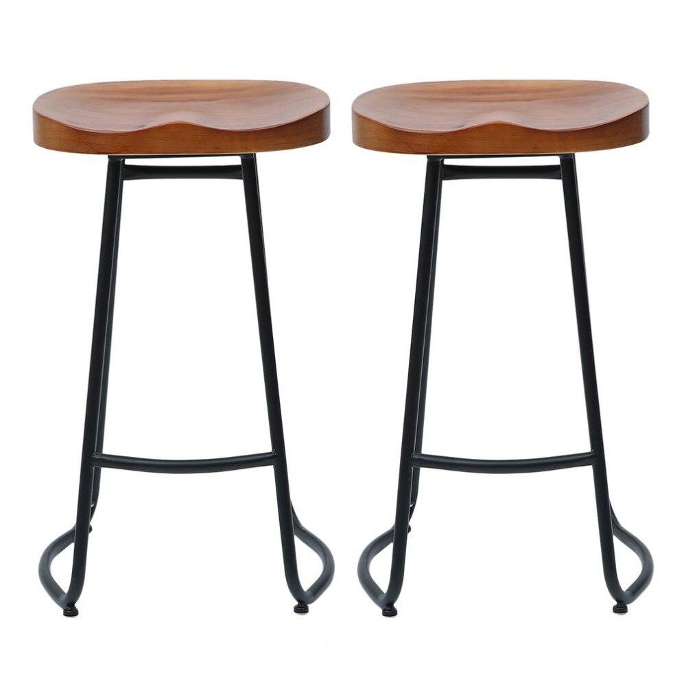 70cm Pub Bar Stool 2 Pcs Backless Barstool Vintage Rustic