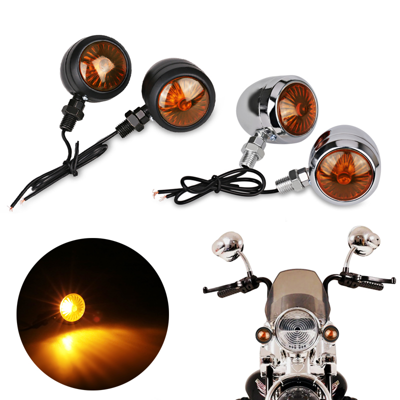 4Pcs Motorcycle Turn Signals Indicators Amber Black Bullet Turn Signal Light Lamp Blinkers For Scooter Motor For Harley