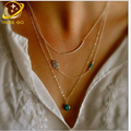 hamsa eye turquoise choker necklace women vintage jewelry multilayer clavicle chain collier femme 2016 chain necklace