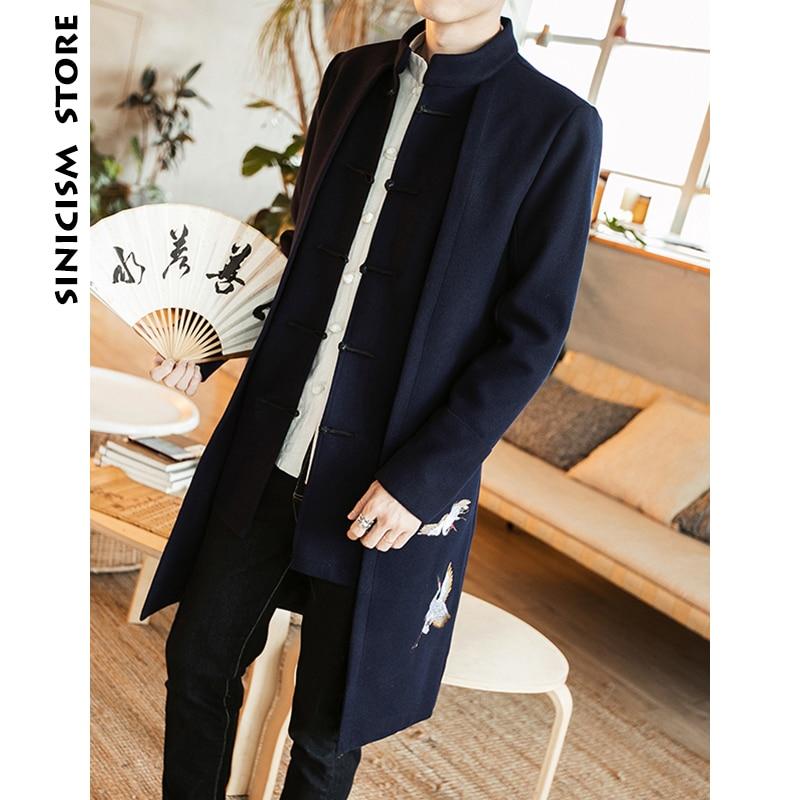 Sinicism Store Men Wool Trench Coat 2018 Man Crane Embroidery Black Long Coat Men Chinese Style Autumn Winter Windbreaker Jacket