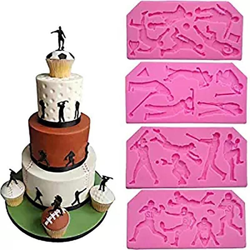 Sports Ball Series Football Rugby Golf Baseball Cake Mold Cooking Tools Fondant Baking Sugar Sports Ball Cake Mold CHW3268