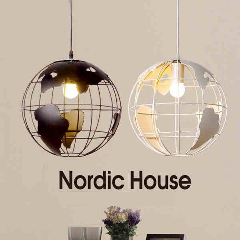 Globo tierra hierro lámpara colgante sombra negro/blanco para cocina isla comedor restaurante decoración 220 V E27