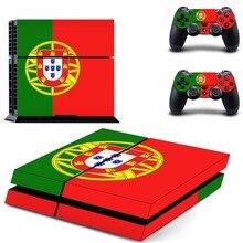 علم البرتغال الوطني PS4 الجلد ملصقا صائق ل سوني بلاي ستيشن 4 وحدة التحكم و 2 تحكم جلود PS4 ملصقات الفينيل التبعي