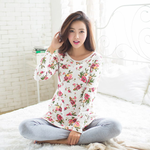 92e3088d2f3 Autumn Winter Cotton Homewear Print Sleepwear Women Pajamas Set Long Sleeve  Tops Pants Lounge Pyjamas Suit Women Nightgown Z2309