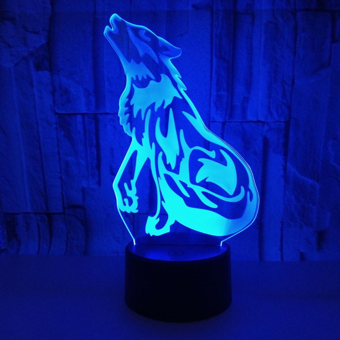 Акрил 3D Night Wolf Light лампа светодиодный USB Touch красочная настольная лампа ночники для домашнего декора творческие подарки H
