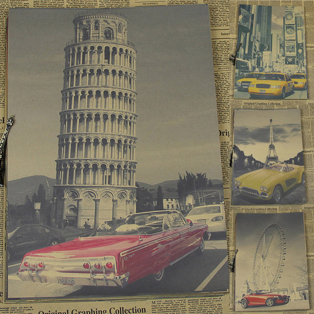 Retro Movie Poster Architecture Car Brown Paper Drawing Hanging