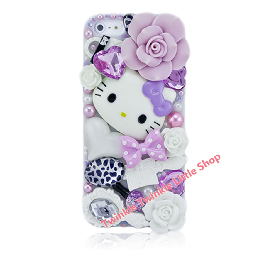 fdcfcfac4fdc Free Shipping Cute DIY 3D Crystal Diamond Hello Kitty Hard Back Skin Phone  Cases For Apple iphone 5s case for iphone 5c case-in Rhinestone Cases from  ...