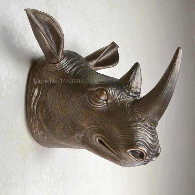 handicraft Home decoration plastic animal head wall hanging rhino ...