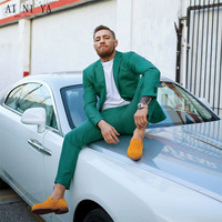 Custom Made Groomsmen Notch Lapel Groom Tuxedos Green Mens Suits Wedding Best Man Suits Men Tuxedos (Jacket+Pants)