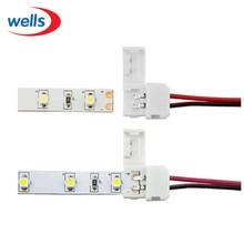цена на 100 pcs/lot 8mm 2Pin Connector LED PCB Connector  For 3528 Single Color LED Strip