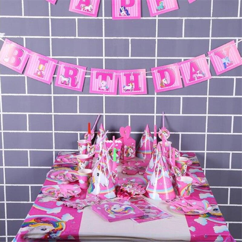 Cartoon Unicorn Tablecloths Kids Birthday Party Decorations Tablecover 1st Birthday Table Decoration Unicorn Party Tablecloths