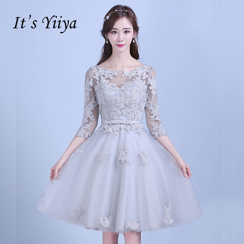 It's YiiYa New Lace Gray Half Sleeves Bow Illusion Flowers Knee Length   Cocktail     Dresses   Party Short Formal   Dress   LX066