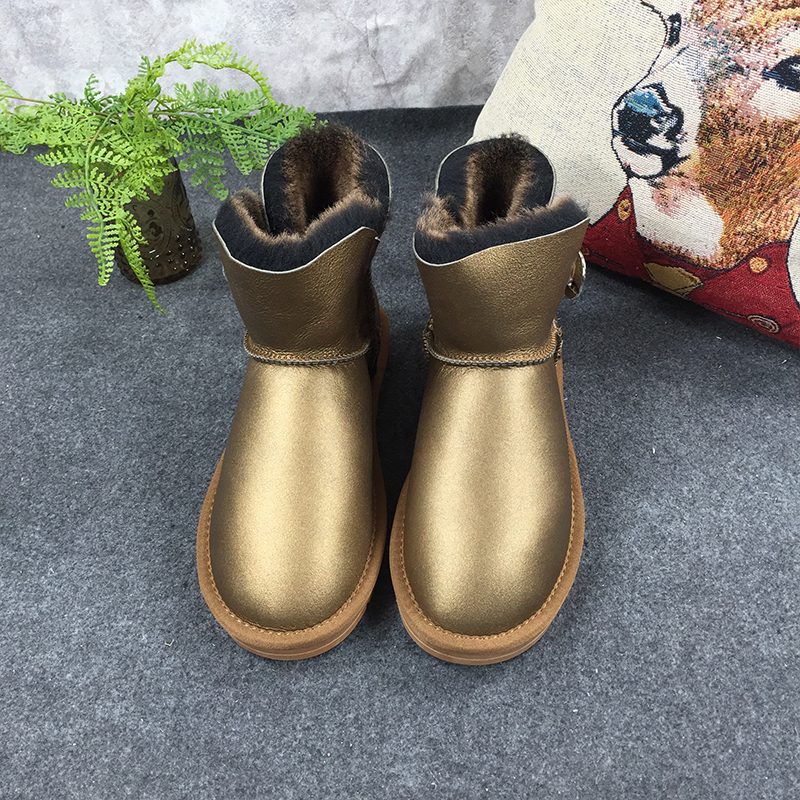 GXLLD Hot Sale Shoes Women Boots Solid Slip-On Soft Cute Women Snow Boots Round Toe Flat with Winter Fur One metal Gold Boots 2017 new arrival hot sale women boots solid bowtie slip on soft cute women snow boots round toe flat with winter shoes wsz31